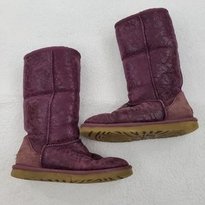 Ugg Boots 7 Tall Flora Shearling Purple Tan Glitte